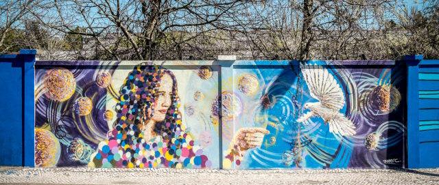 art urbain mur bleu lisbonne