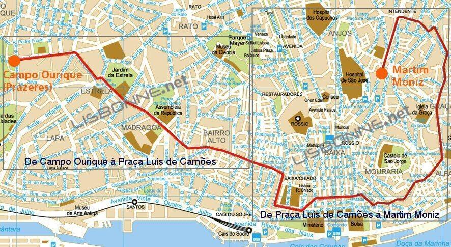les principaux arrêts du tramway 28
